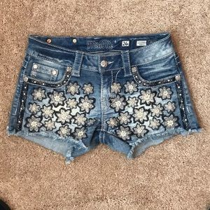 Miss Me Flower Cut Offs